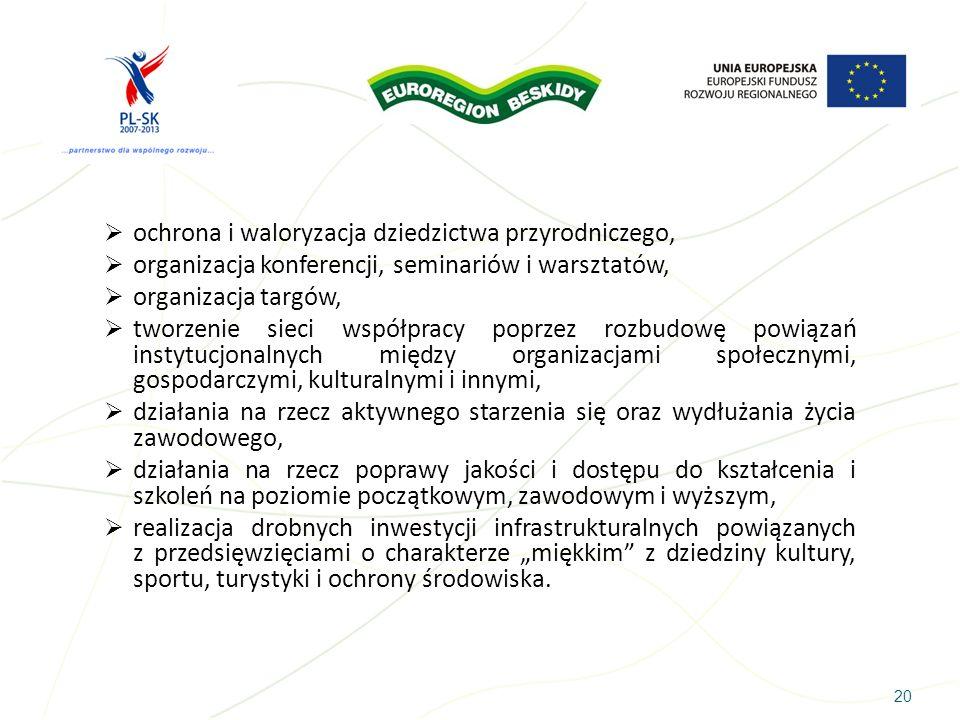 ochrona i waloryzacja dziedzictwa przyrodniczego, organizacja konferencji, seminariów i warsztatów, organizacja targów, tworzenie sieci współpracy pop