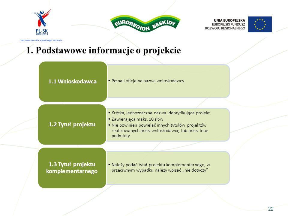 22 1. Podstawowe informacje o projekcie Pełna i oficjalna nazwa wnioskodawcy 1.1 Wnioskodawca Krótka, jednoznaczna nazwa identyfikująca projekt Zawier