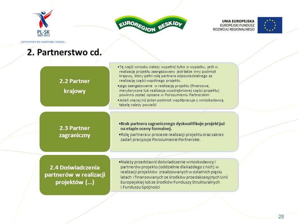 28 2. Partnerstwo cd. Tę część wniosku należy wypełnić tylko w wypadku, jeśli w realizację projektu zaangażowany jest także inny podmiot krajowy, któr