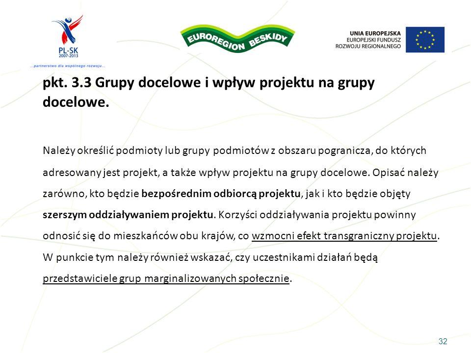 32 pkt. 3.3 Grupy docelowe i wpływ projektu na grupy docelowe. Należy określić podmioty lub grupy podmiotów z obszaru pogranicza, do których adresowan