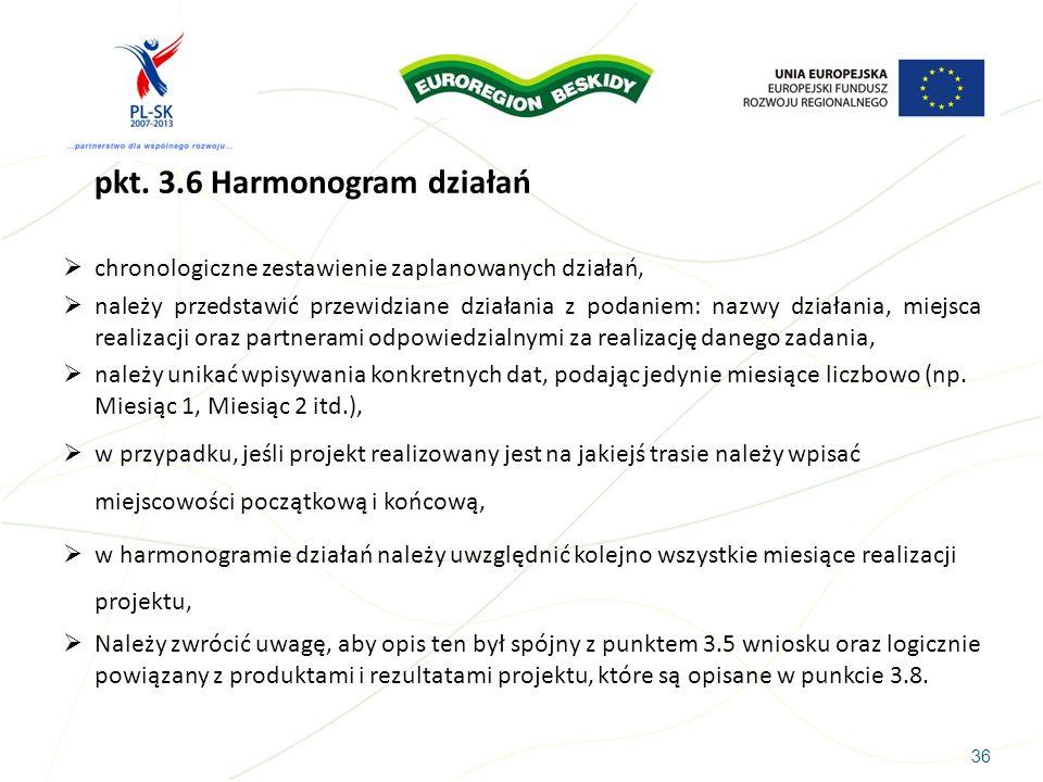 36 pkt. 3.6 Harmonogram działań chronologiczne zestawienie zaplanowanych działań, należy przedstawić przewidziane działania z podaniem: nazwy działani