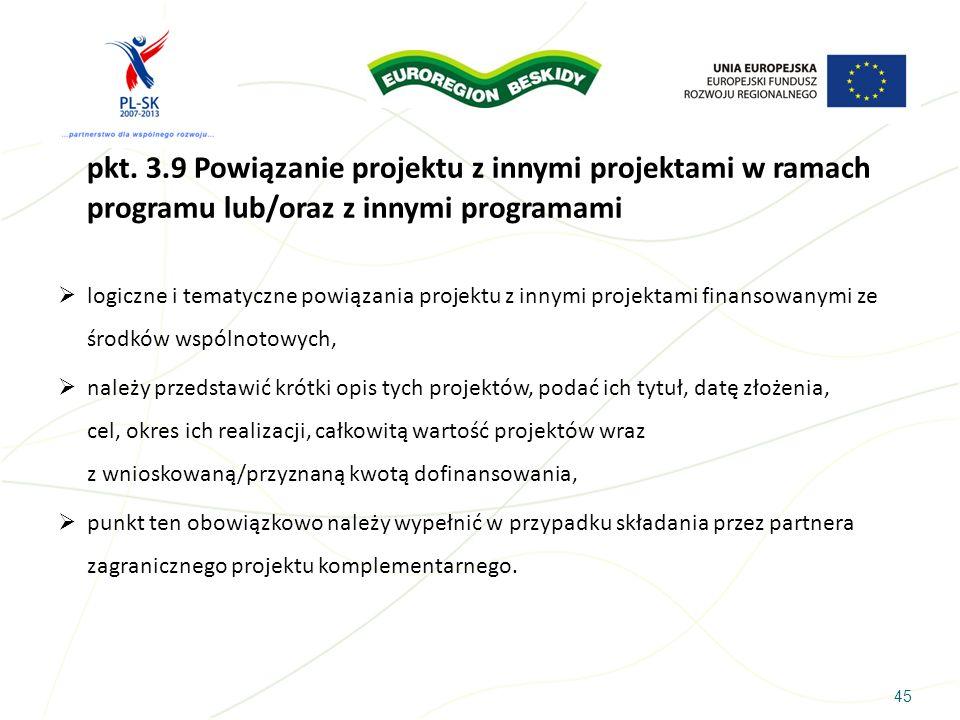 45 pkt. 3.9 Powiązanie projektu z innymi projektami w ramach programu lub/oraz z innymi programami logiczne i tematyczne powiązania projektu z innymi