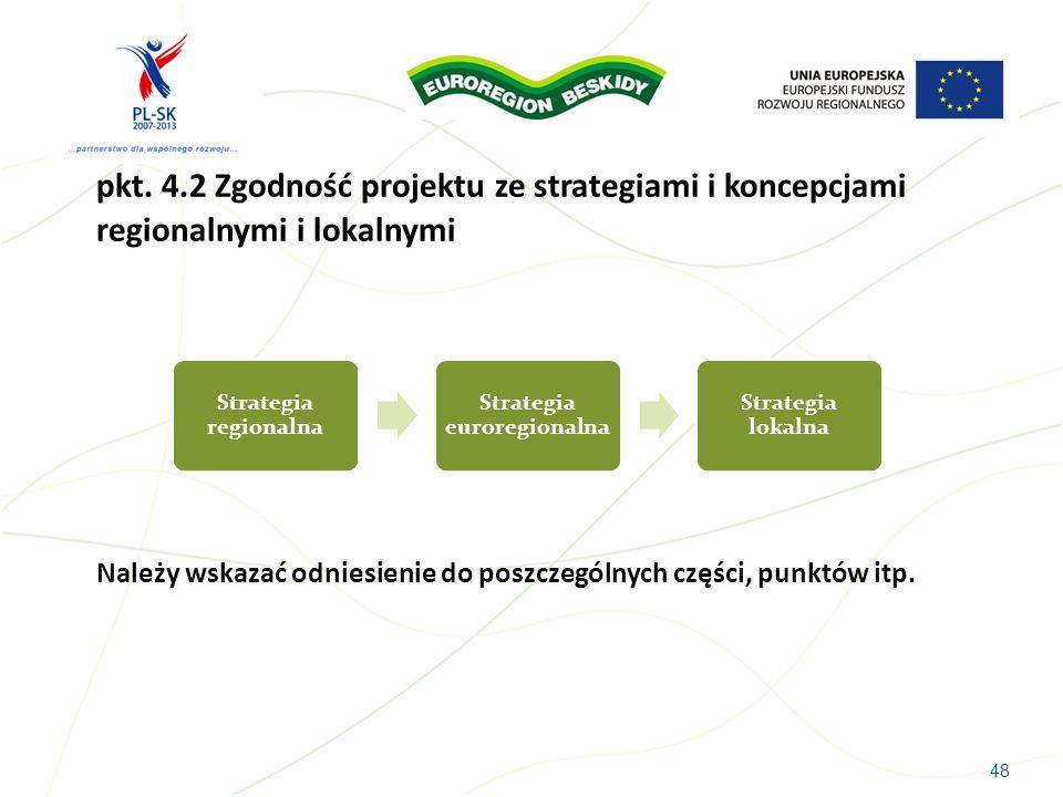 48 pkt. 4.2 Zgodność projektu ze strategiami i koncepcjami regionalnymi i lokalnymi Należy wskazać odniesienie do poszczególnych części, punktów itp.