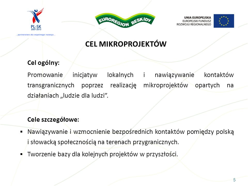 5 CEL MIKROPROJEKTÓW Cel ogólny: Promowanie inicjatyw lokalnych i nawiązywanie kontaktów transgranicznych poprzez realizację mikroprojektów opartych n