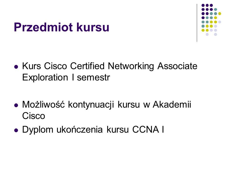 Przedmiot kursu Kurs Cisco Certified Networking Associate Exploration I semestr Możliwość kontynuacji kursu w Akademii Cisco Dyplom ukończenia kursu C