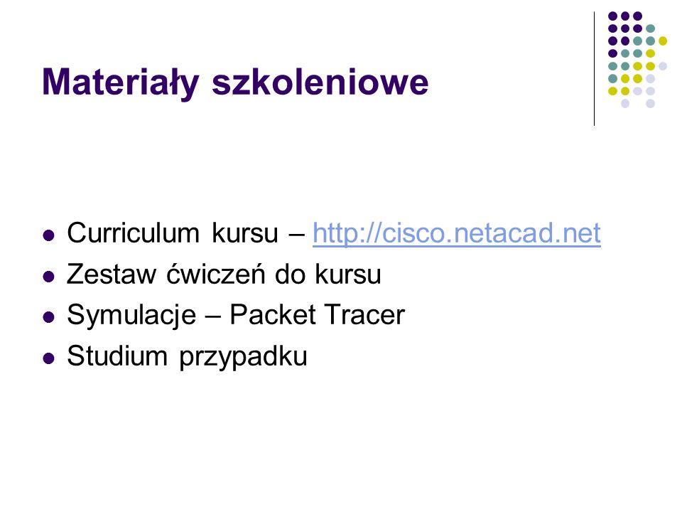 Materiały szkoleniowe Curriculum kursu – http://cisco.netacad.nethttp://cisco.netacad.net Zestaw ćwiczeń do kursu Symulacje – Packet Tracer Studium pr