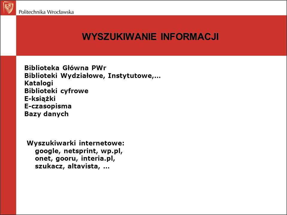 WYSZUKIWANIE INFORMACJI Biblioteka Główna PWr Biblioteki Wydziałowe, Instytutowe,… Katalogi Biblioteki cyfrowe E-książki E-czasopisma Bazy danych Wysz