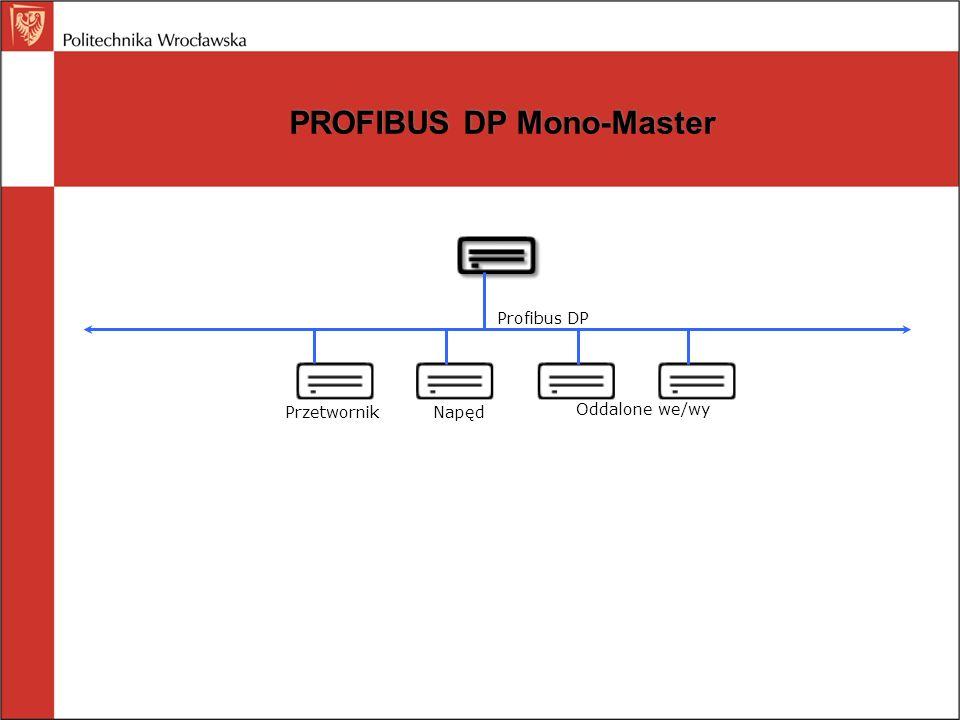PROFIBUS DP Mono-Master Profibus DP PrzetwornikNapęd Oddalone we/wy