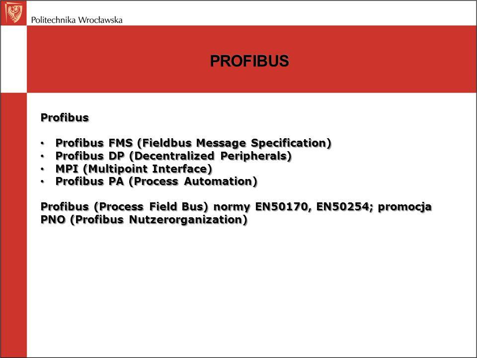 PROFIBUS Profibus FMS lub ProfiNet MPI Profibus DP Panel operatorski PLC inteligentny slave napęd Profibus DP / Actual Sensor Interface Oddalone we/wy falownik regulator Profibus PA Przetwornik DP/PA czujnikprzekaźnikprzetwornik zawór