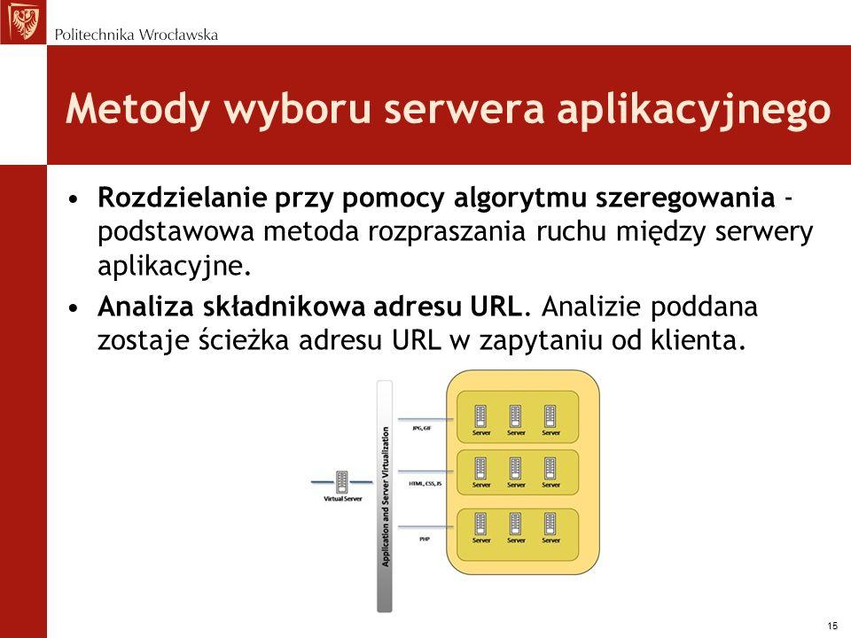 15 Metody wyboru serwera aplikacyjnego Rozdzielanie przy pomocy algorytmu szeregowania - podstawowa metoda rozpraszania ruchu między serwery aplikacyj