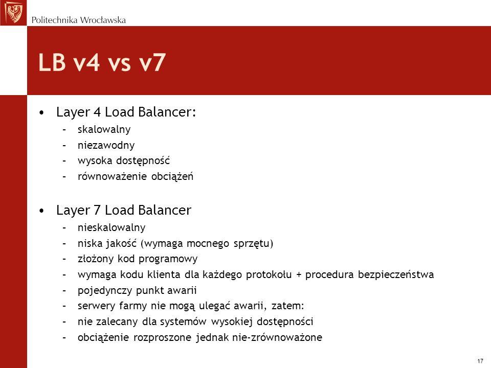 17 LB v4 vs v7 Layer 4 Load Balancer: –skalowalny –niezawodny –wysoka dostępność –równoważenie obciążeń Layer 7 Load Balancer –nieskalowalny –niska ja