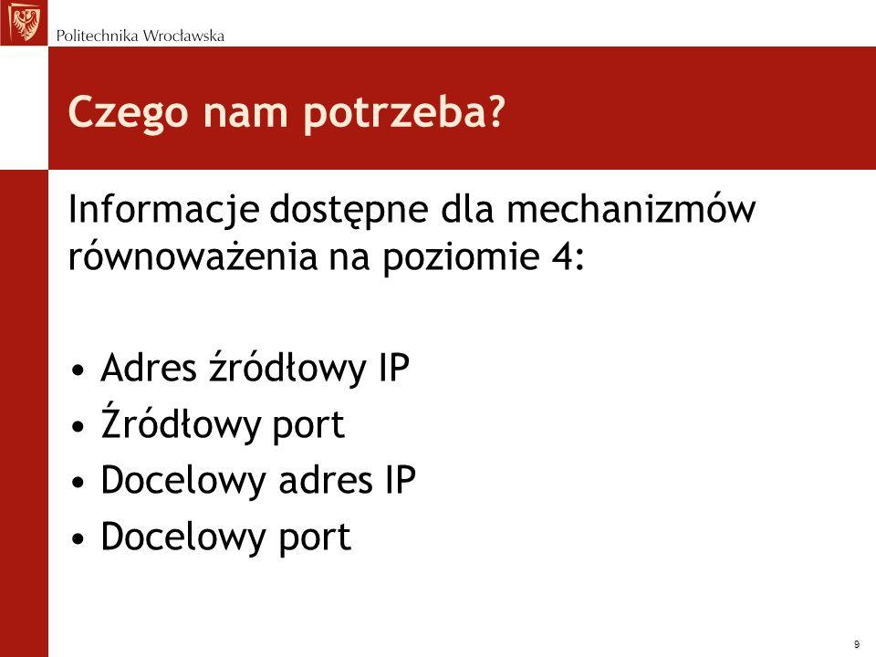 9 Czego nam potrzeba? Informacje dostępne dla mechanizmów równoważenia na poziomie 4: Adres źródłowy IP Źródłowy port Docelowy adres IP Docelowy port