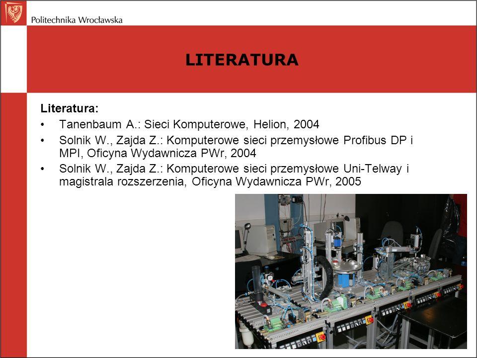 Literatura: Tanenbaum A.: Sieci Komputerowe, Helion, 2004 Solnik W., Zajda Z.: Komputerowe sieci przemysłowe Profibus DP i MPI, Oficyna Wydawnicza PWr