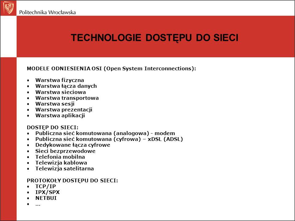 TECHNOLOGIE DOSTĘPU DO SIECI MODELE ODNIESIENIA OSI (Open System Interconnections): Warstwa fizyczna Warstwa łącza danych Warstwa sieciowa Warstwa tra