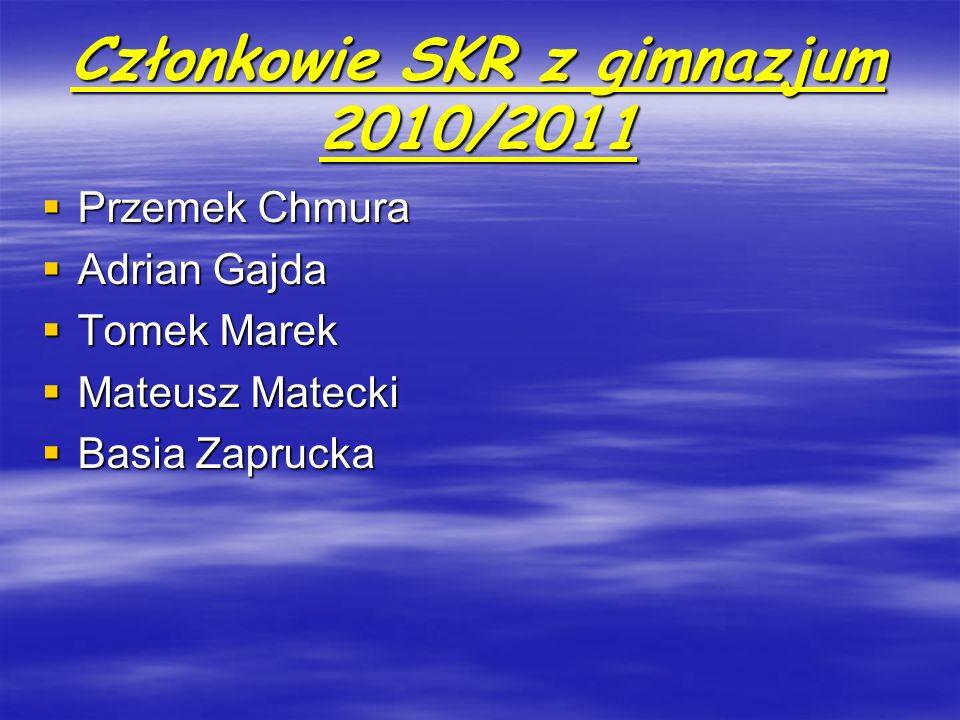 Członkowie SKR z gimnazjum 2010/2011 Przemek Chmura Przemek Chmura Adrian Gajda Adrian Gajda Tomek Marek Tomek Marek Mateusz Matecki Mateusz Matecki B