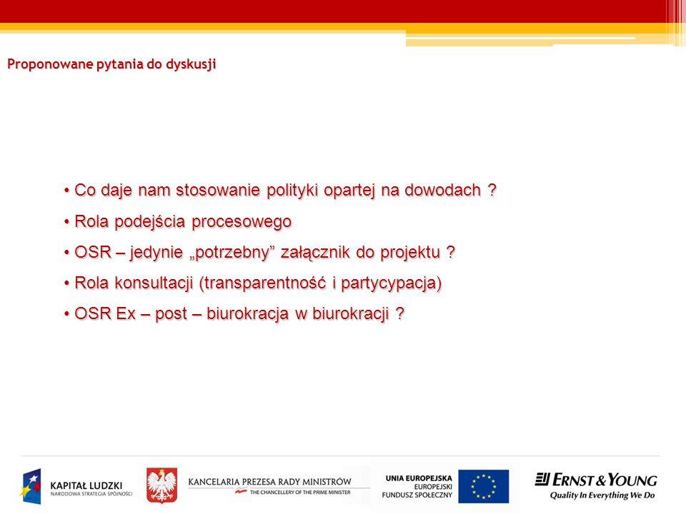 Proponowane pytania do dyskusji Co daje nam stosowanie polityki opartej na dowodach .