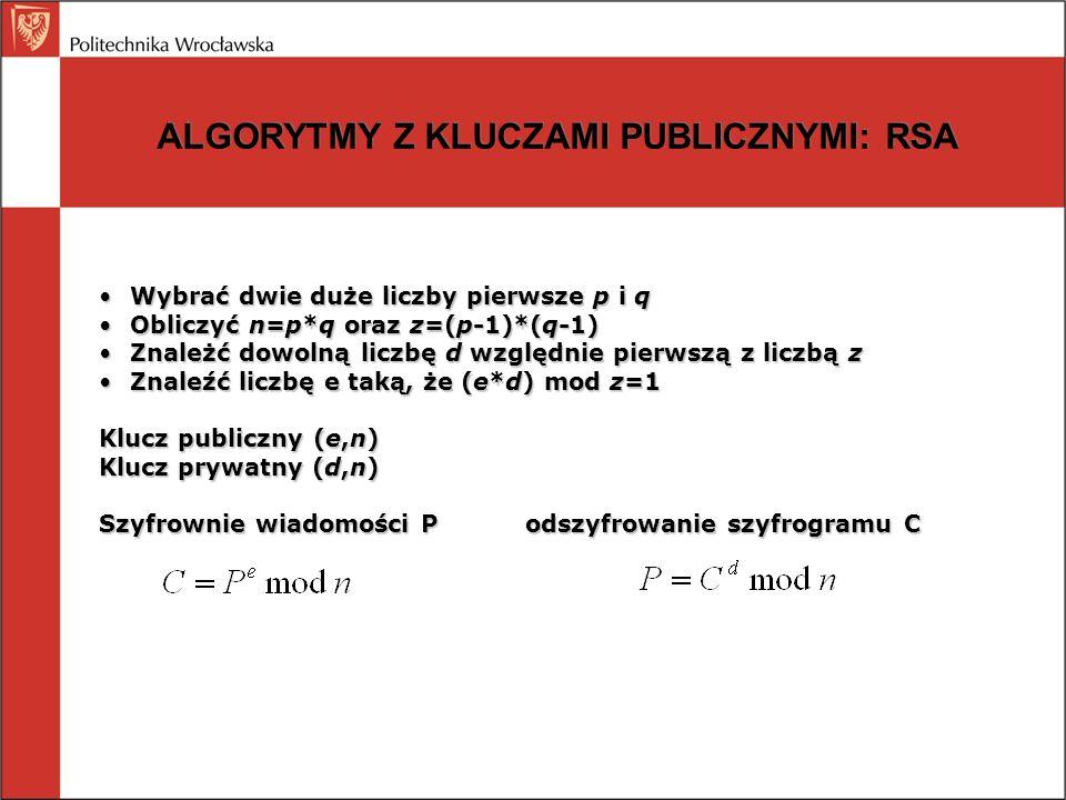 ALGORYTMY Z KLUCZAMI PUBLICZNYMI: RSA Wybrać dwie duże liczby pierwsze p i qWybrać dwie duże liczby pierwsze p i q Obliczyć n=p*q oraz z=(p-1)*(q-1)Ob