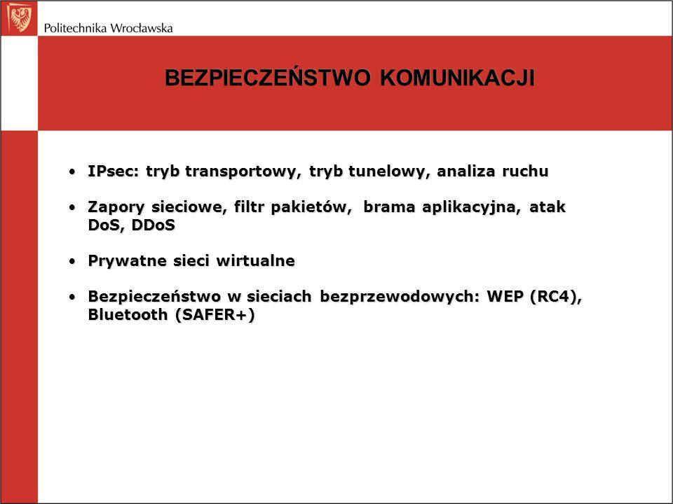 BEZPIECZEŃSTWO KOMUNIKACJI IPsec: tryb transportowy, tryb tunelowy, analiza ruchuIPsec: tryb transportowy, tryb tunelowy, analiza ruchu Zapory sieciow