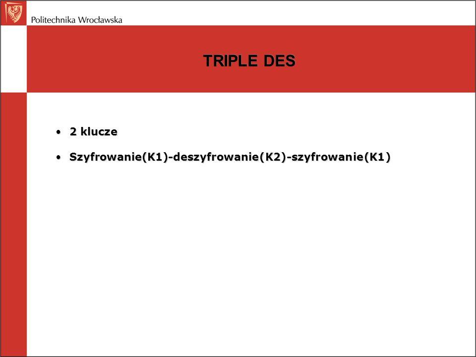 TRIPLE DES 2 klucze2 klucze Szyfrowanie(K1)-deszyfrowanie(K2)-szyfrowanie(K1)Szyfrowanie(K1)-deszyfrowanie(K2)-szyfrowanie(K1)