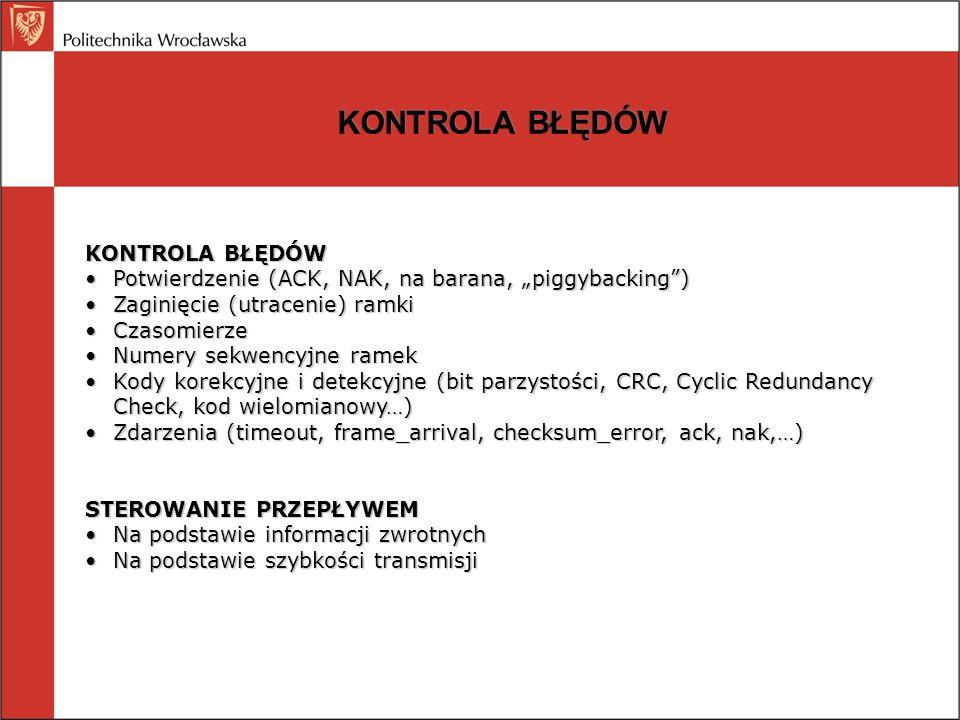 PROTOKOŁY ŁĄCZA DANYCH PROTOKOŁY SIMPLEKSOWE Nieograniczony protokół simpleksowy Simpleksowy protokół stop-and-wait Protokół simpleksowy dla kanału z zakłóceniami PROTOKOŁY Z OKNEM PRZESUWNYM (akceptowane są ramki o nr mieszczących się w oknie przesuwnym; wysyłane są ramki o nr z okna przesuwnego) Z jednobitowym oknem przesuwnym Wróć do n (go back to n): odrzucenia kolejnych ramek po błędnej Powtórzeń selektywnych: błędna ramka odrzucona, kolejne buforowane