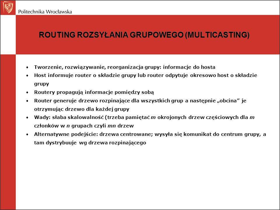 ROUTING ROZSYŁANIA GRUPOWEGO (MULTICASTING) Tworzenie, rozwiązywanie, reorganizacja grupy: informacje do hosta Host informuje router o składzie grupy