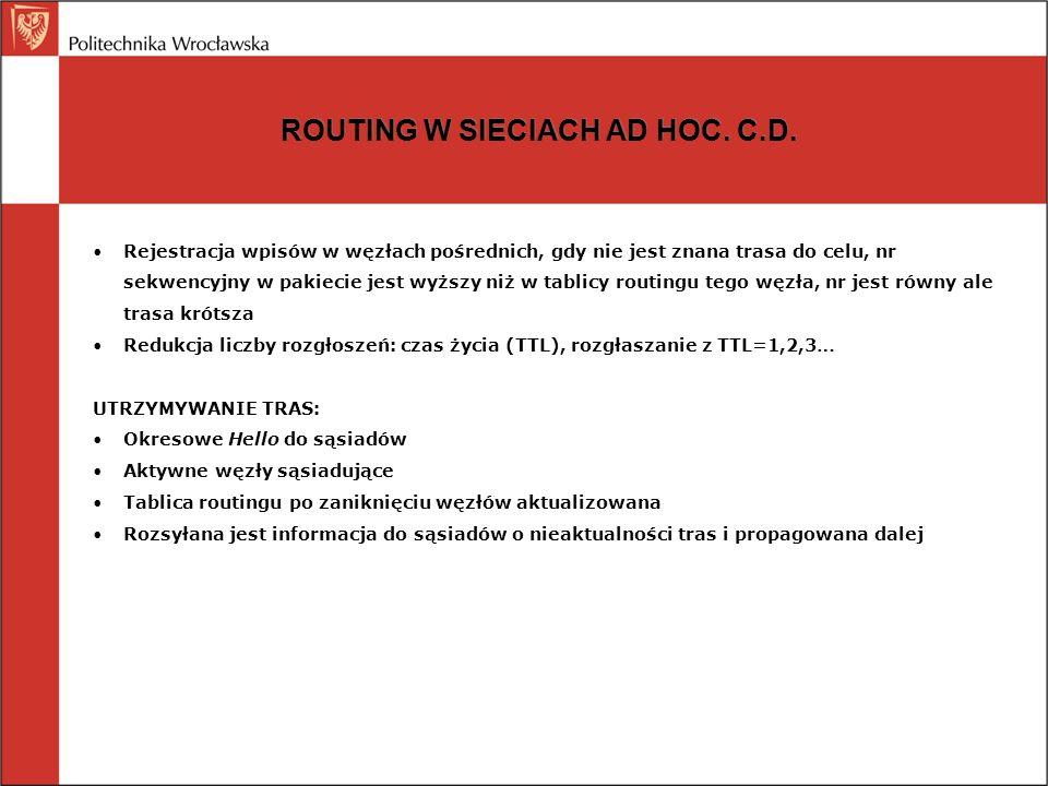 ROUTING W SIECIACH AD HOC. C.D. Rejestracja wpisów w węzłach pośrednich, gdy nie jest znana trasa do celu, nr sekwencyjny w pakiecie jest wyższy niż w