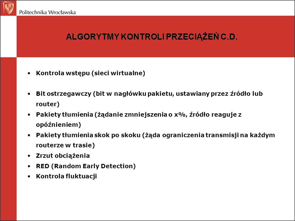 ALGORYTMY KONTROLI PRZECIĄŻEŃ C.D. Kontrola wstępu (sieci wirtualne) Bit ostrzegawczy (bit w nagłówku pakietu, ustawiany przez źródło lub router) Paki