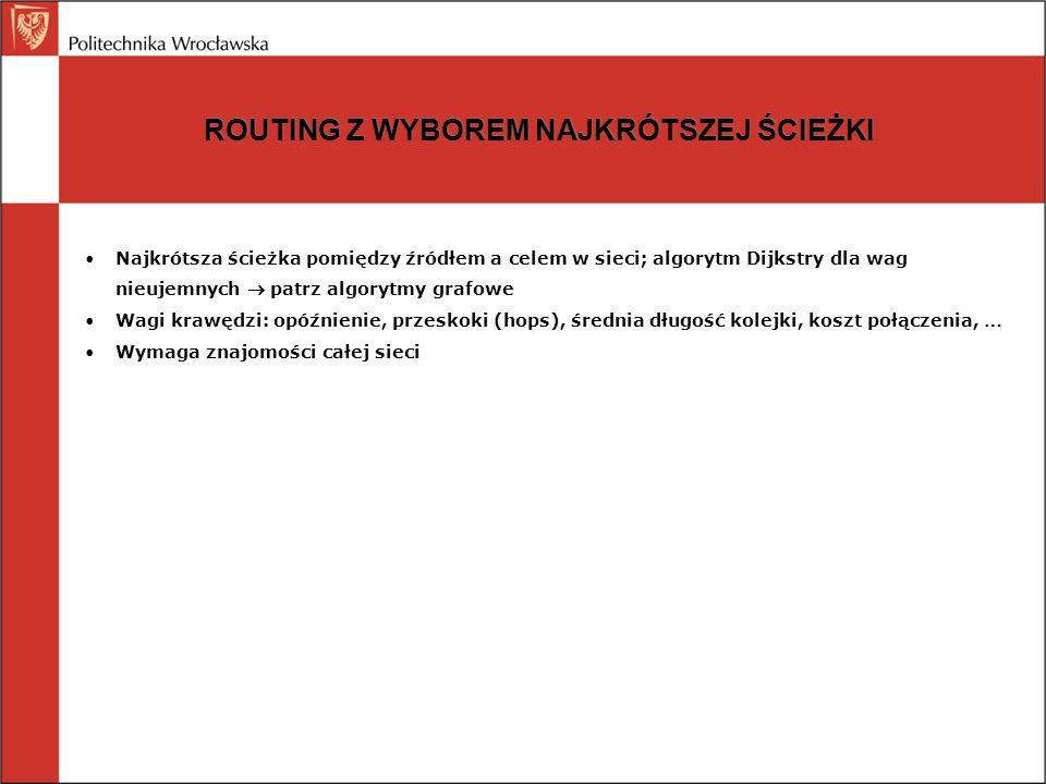 ROUTING ROZPŁYWOWY Zalewanie pakietami Każdy pakiet jest wysyłany na wszystkie linii z wyjątkiem tej po której przyszedł Tamowanie rozpływu: dekrementowany licznik czasu życia pakietu Tamowanie rozpływu: numer sekwencyjny pakietu (wszystkie pakiety do k były już widziane) Selektywny routing rozpływowy (wysyłanie mniej więcej we właściwym kierunku)