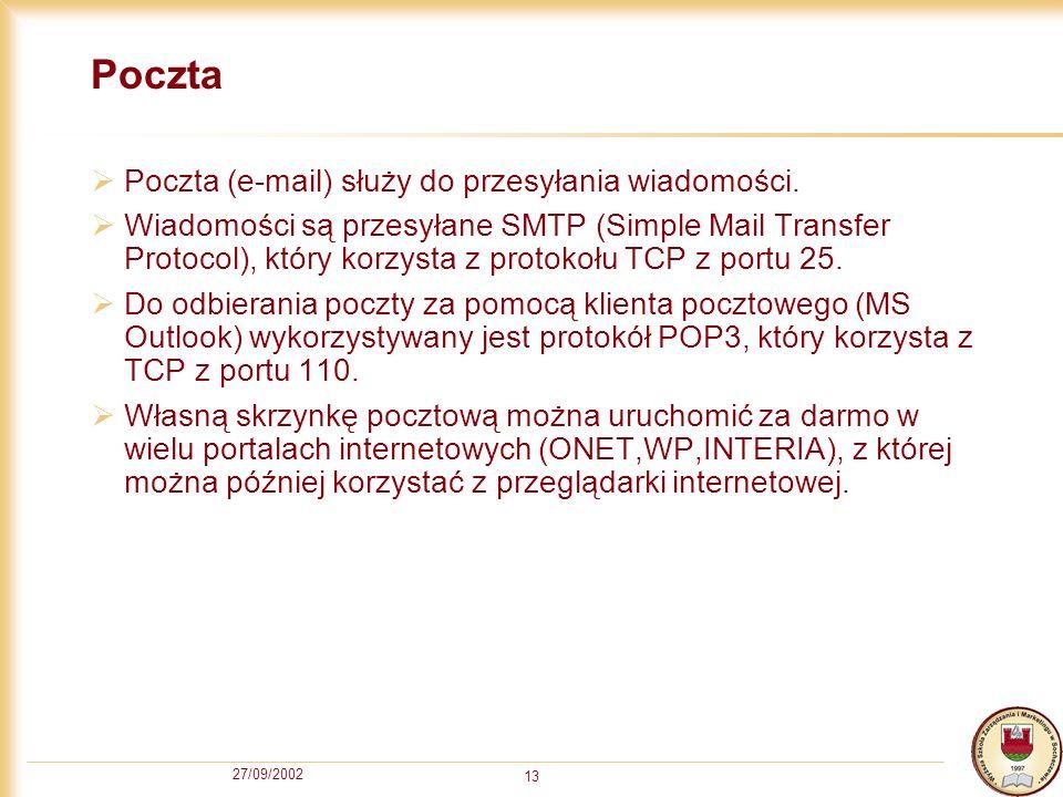 27/09/2002 13 Poczta Poczta (e-mail) służy do przesyłania wiadomości. Wiadomości są przesyłane SMTP (Simple Mail Transfer Protocol), który korzysta z