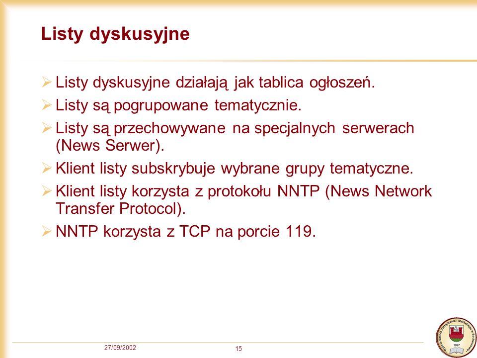 27/09/2002 15 Listy dyskusyjne Listy dyskusyjne działają jak tablica ogłoszeń. Listy są pogrupowane tematycznie. Listy są przechowywane na specjalnych