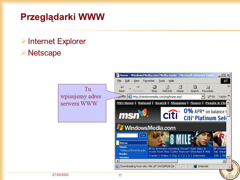27/09/2002 17 Przeglądarki WWW Internet Explorer Netscape Tu wpisujemy adres serwera WWW