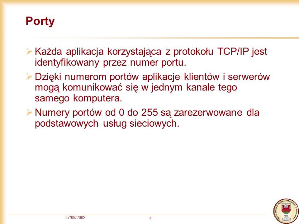27/09/2002 4 Porty Każda aplikacja korzystająca z protokołu TCP/IP jest identyfikowany przez numer portu. Dzięki numerom portów aplikacje klientów i s