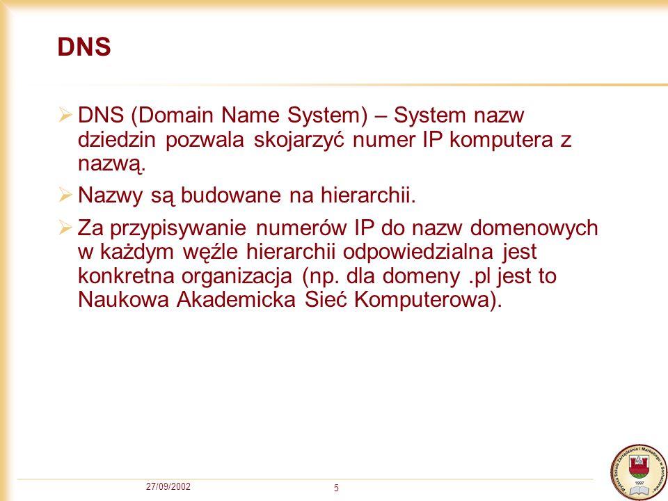 27/09/2002 5 DNS DNS (Domain Name System) – System nazw dziedzin pozwala skojarzyć numer IP komputera z nazwą. Nazwy są budowane na hierarchii. Za prz