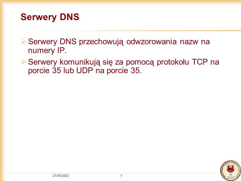 27/09/2002 7 Serwery DNS Serwery DNS przechowują odwzorowania nazw na numery IP. Serwery komunikują się za pomocą protokołu TCP na porcie 35 lub UDP n