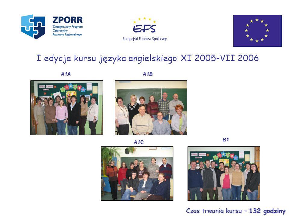 A1C A1B B1 I edycja kursu języka angielskiego XI 2005-VII 2006 A1A Czas trwania kursu – 132 godziny