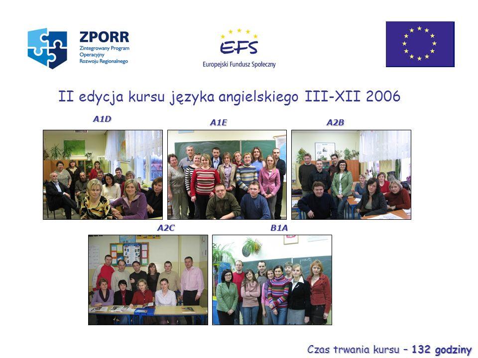 A2CB1A A1D A1EA2B II edycja kursu języka angielskiego III-XII 2006 Czas trwania kursu – 132 godziny