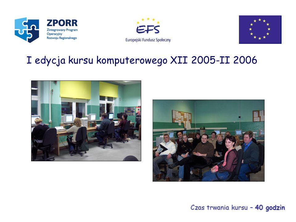 I edycja kursu komputerowego XII 2005-II 2006 Czas trwania kursu – 40 godzin