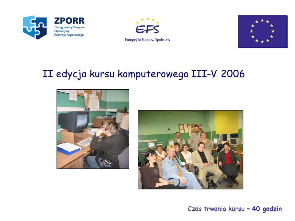 II edycja kursu komputerowego III-V 2006 Czas trwania kursu – 40 godzin