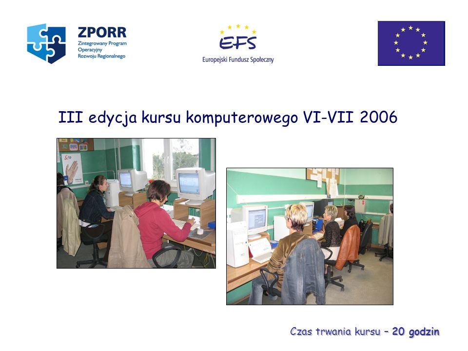 III edycja kursu komputerowego VI-VII 2006 Czas trwania kursu – 20 godzin