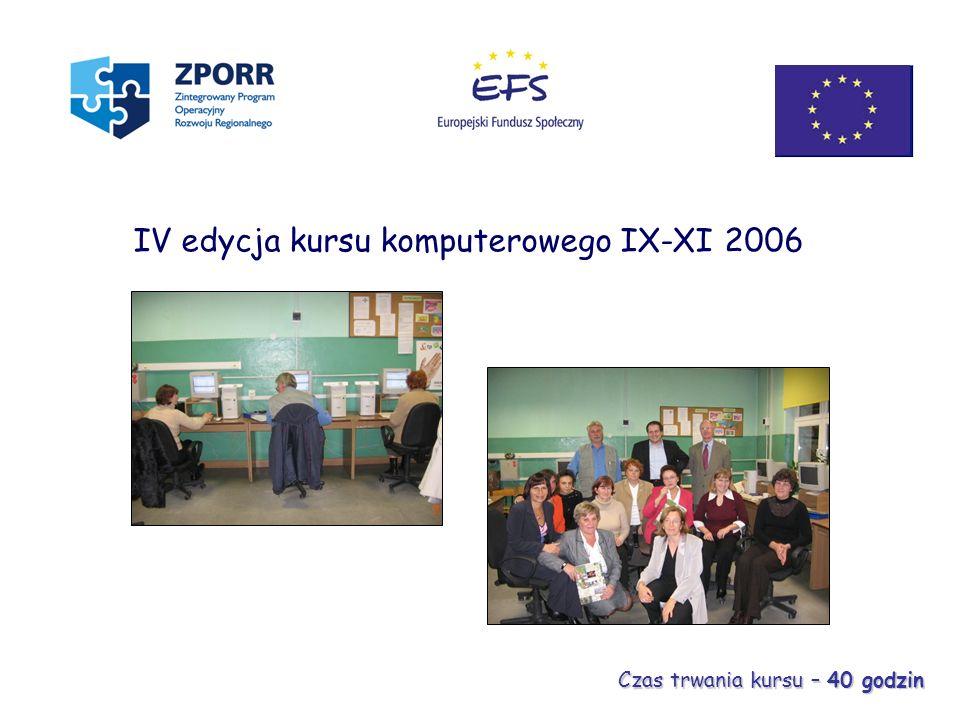 IV edycja kursu komputerowego IX-XI 2006 Czas trwania kursu – 40 godzin
