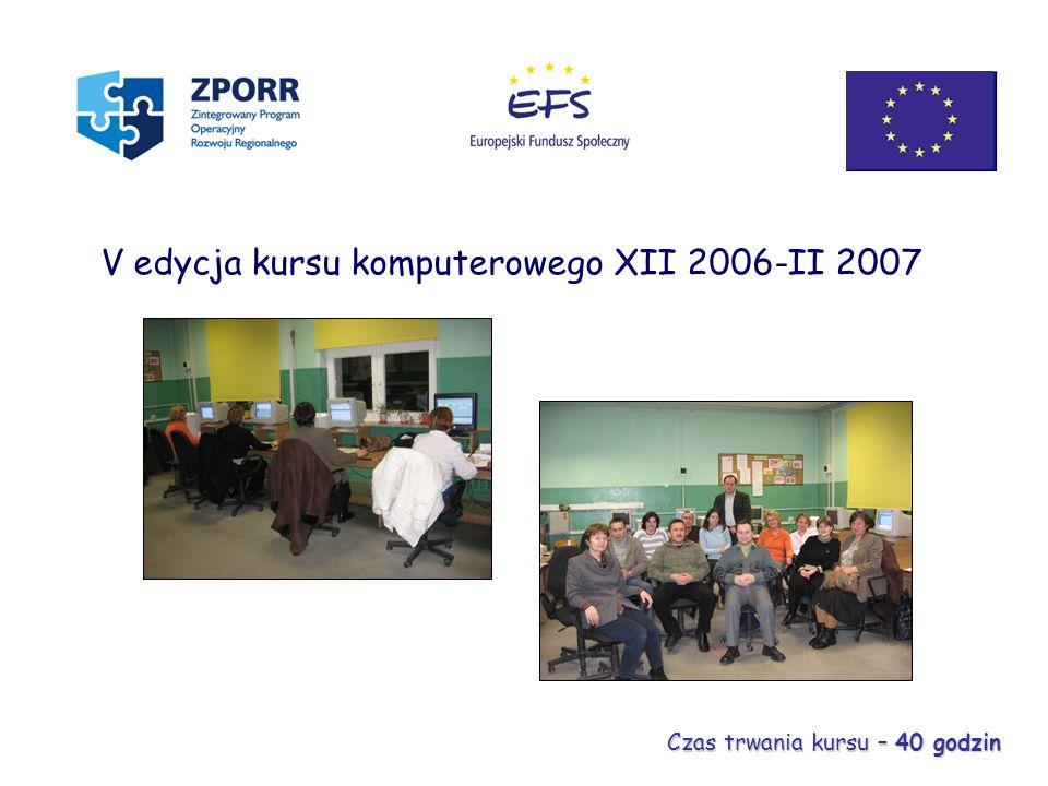 V edycja kursu komputerowego XII 2006-II 2007 Czas trwania kursu – 40 godzin