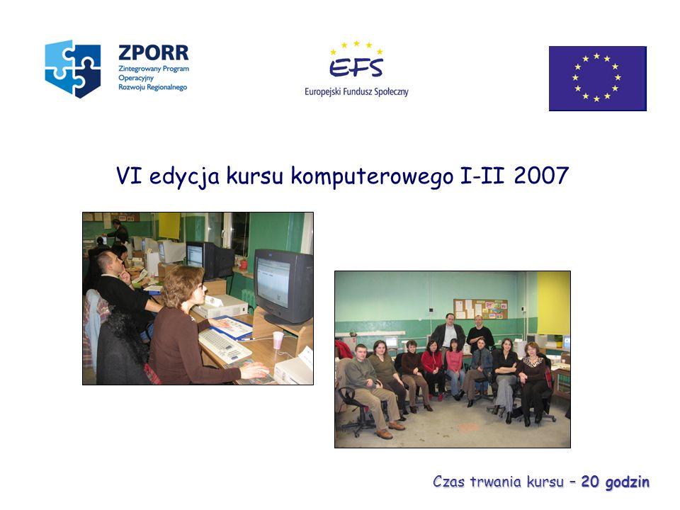 VI edycja kursu komputerowego I-II 2007 Czas trwania kursu – 20 godzin