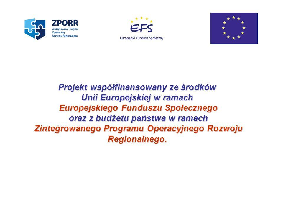 Projekt współfinansowany ze środków Unii Europejskiej w ramach Europejskiego Funduszu Społecznego oraz z budżetu państwa w ramach Zintegrowanego Progr