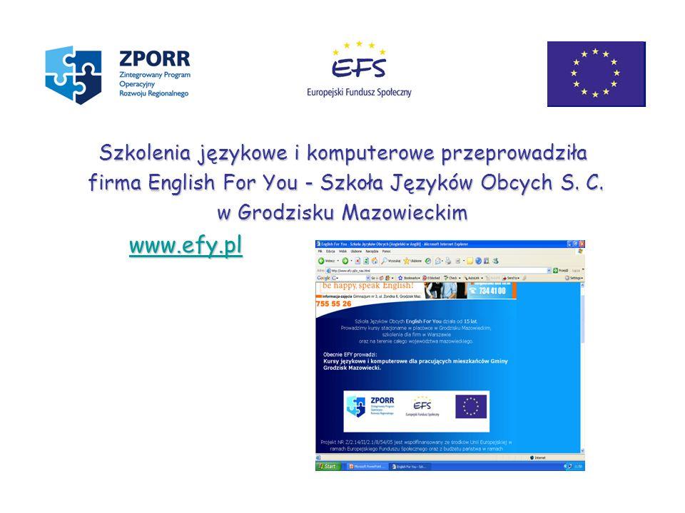 Szkolenia językowe i komputerowe przeprowadziła firma English For You - Szkoła Języków Obcych S. C. firma English For You - Szkoła Języków Obcych S. C