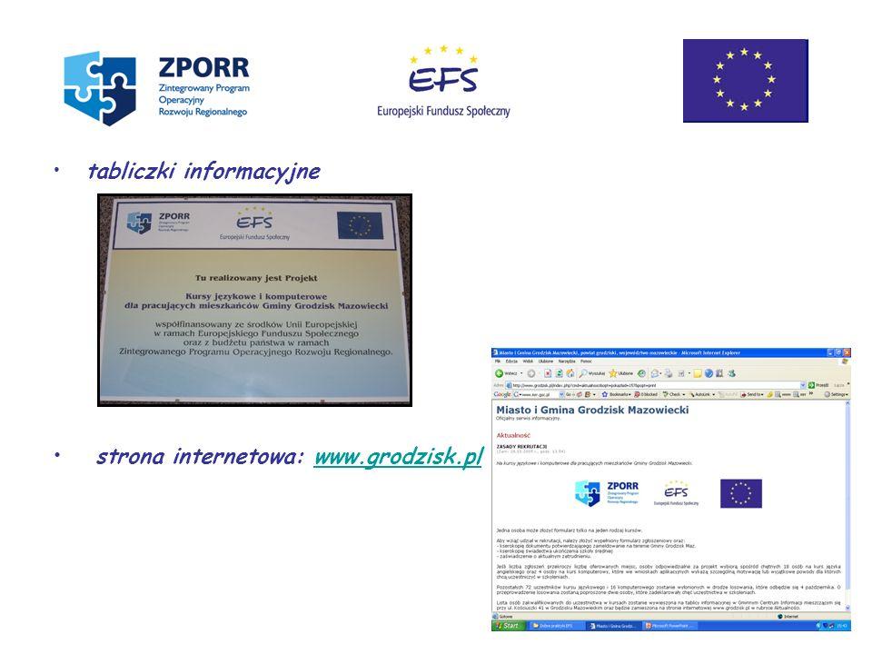 tabliczki informacyjne strona internetowa: www.grodzisk.plwww.grodzisk.pl