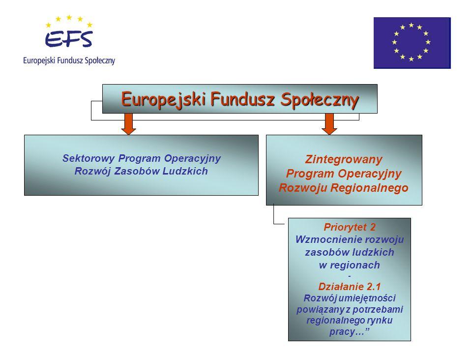 Zintegrowany Program Operacyjny Rozwoju Regionalnego Sektorowy Program Operacyjny Rozwój Zasobów Ludzkich Europejski Fundusz Społeczny Priorytet 2 Wzm