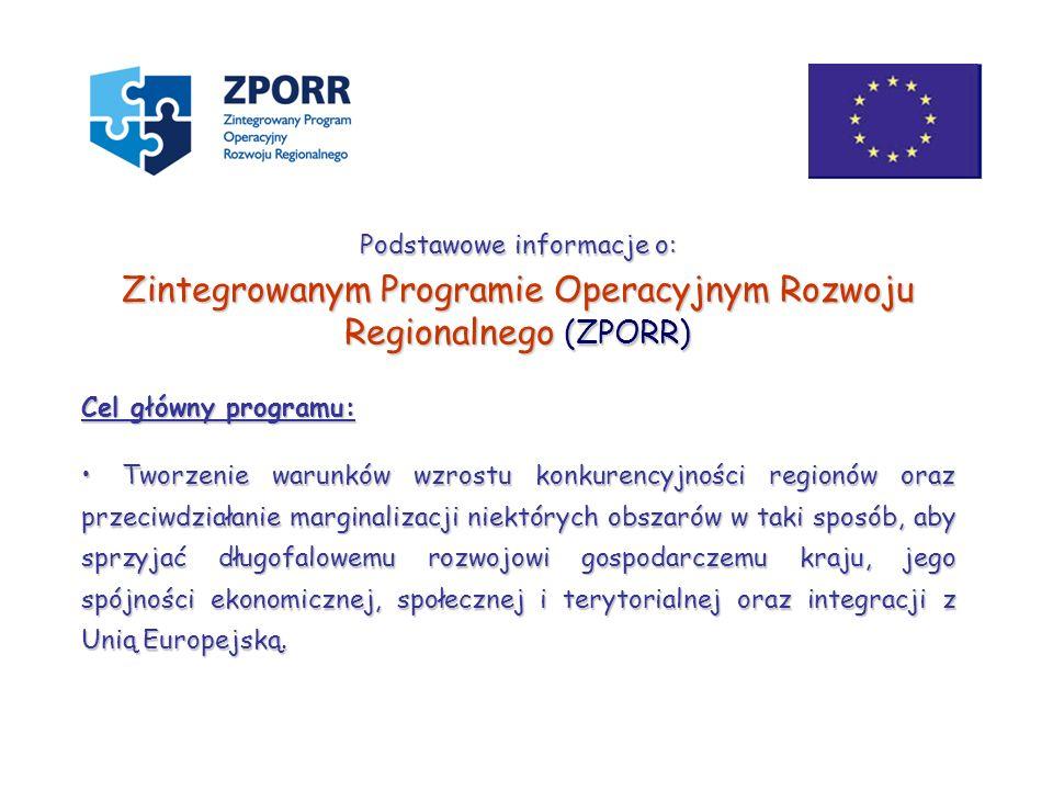 Podstawowe informacje o: Zintegrowanym Programie Operacyjnym Rozwoju Regionalnego (ZPORR) Cel główny programu: Tworzenie warunków wzrostu konkurencyjn