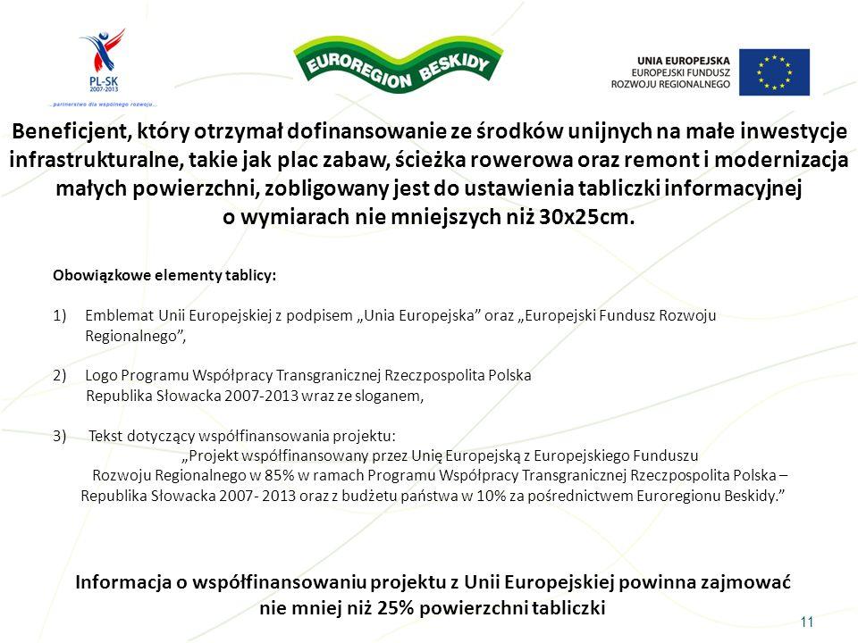 11 Beneficjent, który otrzymał dofinansowanie ze środków unijnych na małe inwestycje infrastrukturalne, takie jak plac zabaw, ścieżka rowerowa oraz re