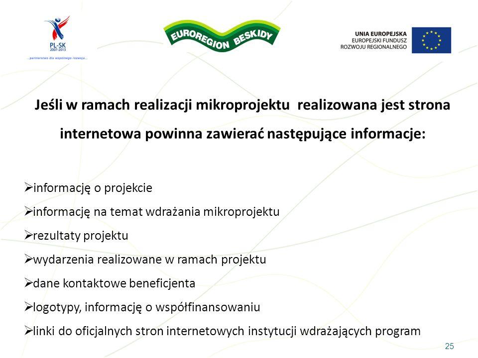 25 Jeśli w ramach realizacji mikroprojektu realizowana jest strona internetowa powinna zawierać następujące informacje: informację o projekcie informa