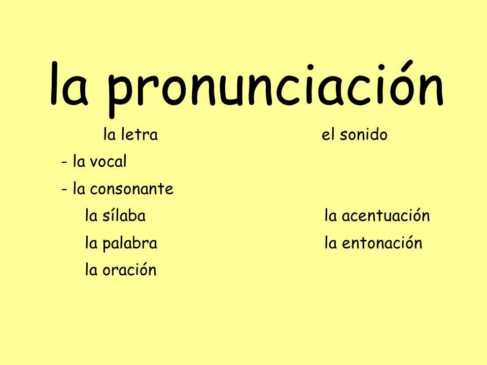 la pronunciación la letra el sonido - la vocal - la consonante la sílaba la acentuación la palabra la entonación la oración